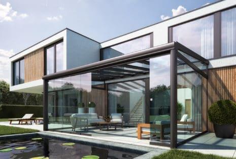 Glazen terrasoverkapping © Indecon