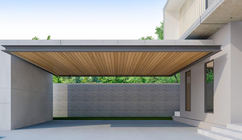 Moderne carport afgewerkt met hout